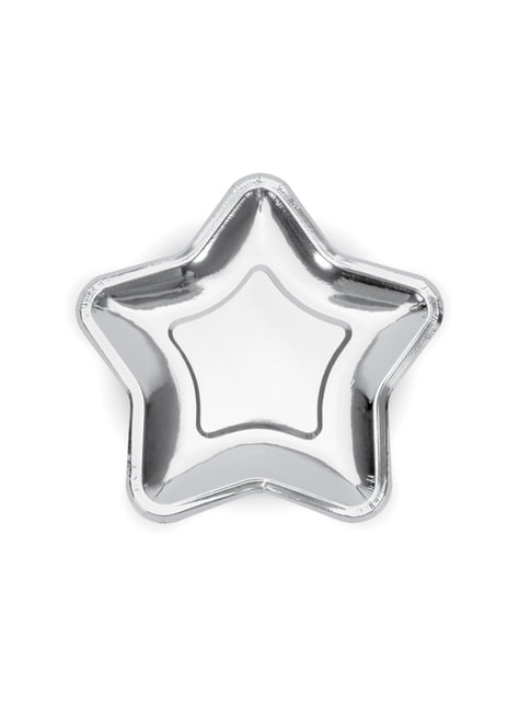 6 Star-Shaped Paper Plates, Silve (23 cm) - Princess Party