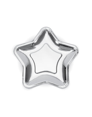 6 platos plateados con forma de estrella de papel (23 cm) - Princess Party