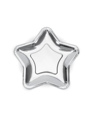 Set 6 stříbrných papírových talířů ve tvaru hvězdy - Princess Party