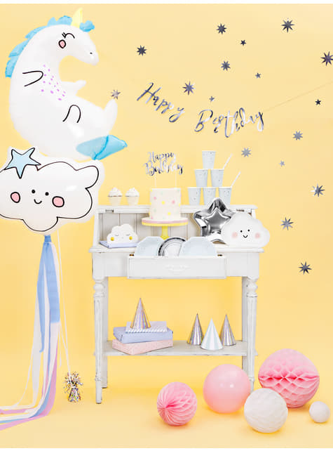 6 platos plateados con forma de estrella de papel (23 cm) - Princess Party - para tus fiestas