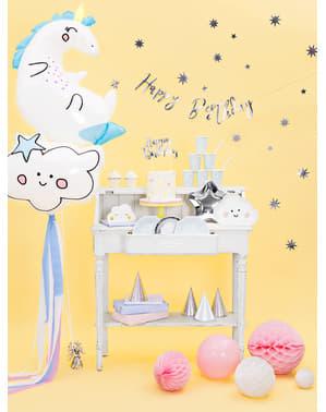 Sett med 6 Stjerneformete Papptallerkener, Sølv - Prinsesse Party