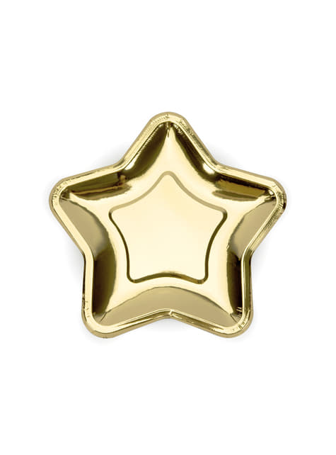 6 piatti dorati a forma di stella di cart (23 cm) - Princess Party