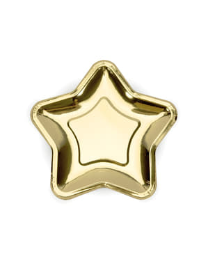 Set 6 zlatých papírových talířů ve tvaru hvězdy - Princess Party