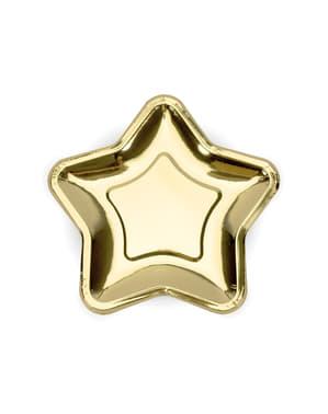 6 stervormige papieren borden, gou (23 cm) - Prinsessen Feest