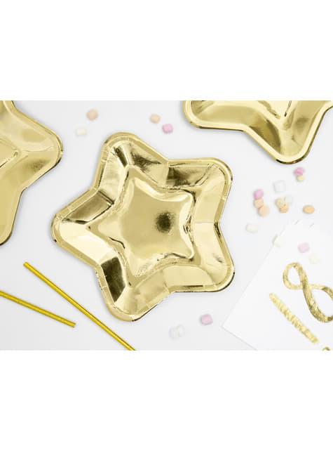 6 platos dorados con forma de estrella de papel (23 cm) - Princess Party - para tus fiestas