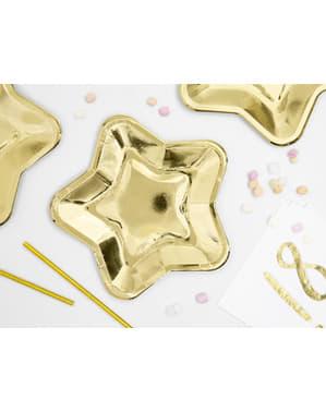 Sett med 6 Stjerneformete Papptallerkener, Gull - Prinsesse Party