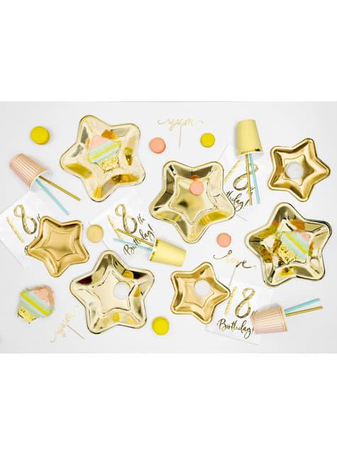 6 platos dorados con forma de estrella de papel (23 cm) - Princess Party - barato