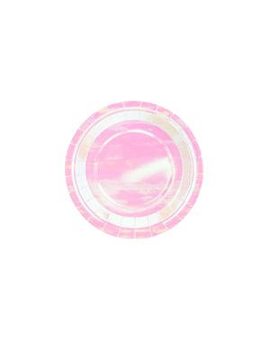 6 roze iriserende papieren borden, 18 cm - Iriserend