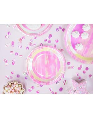 6 Rózsaszín irizáló papír tányér (18 cm) - irizáló