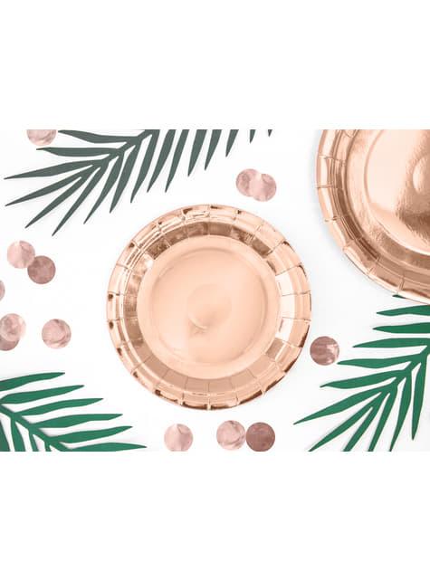 6 platos oro rosas de papel - Vintage Birthday (18 cm) - para tus fiestas
