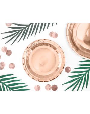 Комплект от 6 розово златни хартиени чинии, 18 см - рожден ден на реколта