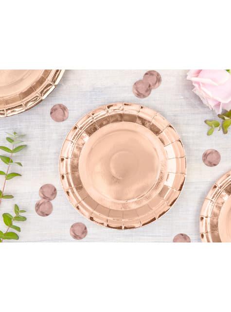 6 platos oro rosas de papel - Vintage Birthday (18 cm) - comprar