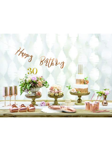 6 platos oro rosas de papel - Vintage Birthday (18 cm) - para decorar todo durante tu fiesta