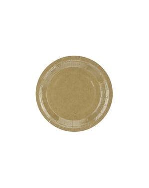 6 platos de papel Kraft - Natural Wedding (18 cm)