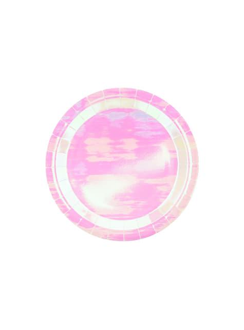 6 assiettes roses iridescentes de 23 cm en carton - Iridescent