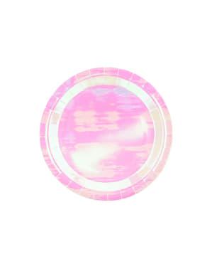 6 roze iriserende papieren borden, 23 cm - Iriserend