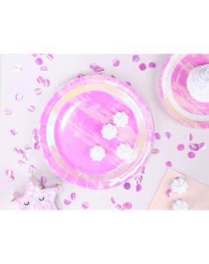 Sett med 6 Rosa Iriserende Papptallerkener, 23 cm - Iriserende