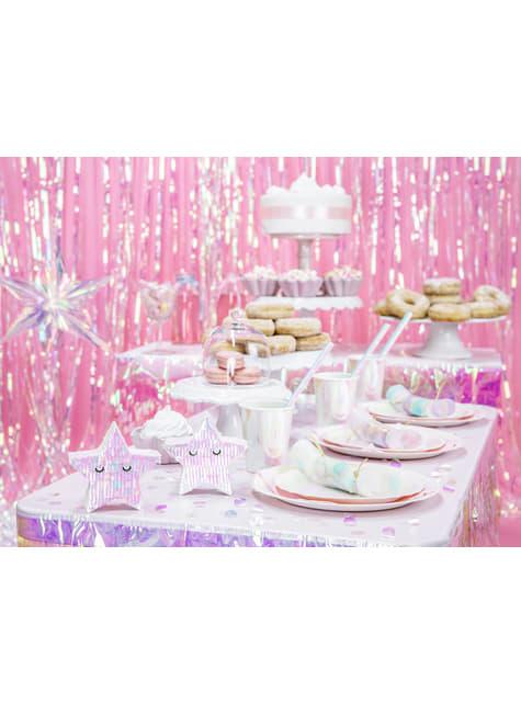 Conjunto de 6 pratos de papel rosa iridescente de 23 cm - Iridescent