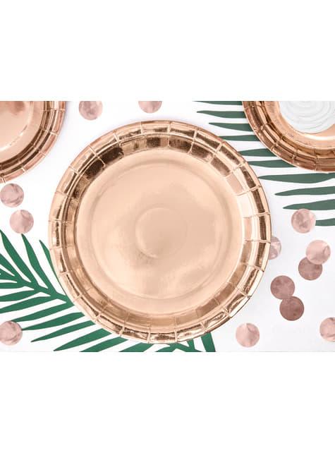 6 platos oro rosas de papel - Vintage Birthday (23 cm) - para tus fiestas