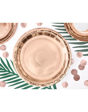 Комплект от 6 розово златни хартиени чинии, 23 см - рожден ден