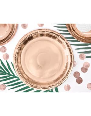 Zestaw 6 papierowe talerze rose gold 23cm - Vintage Birthday