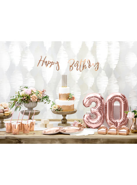 6 platos oro rosas de papel - Vintage Birthday (23 cm) - para niños y adultos