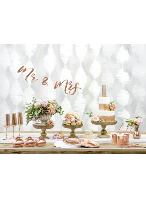 6 platos oro rosas de papel - Vintage Birthday (23 cm) - para decorar todo durante tu fiesta