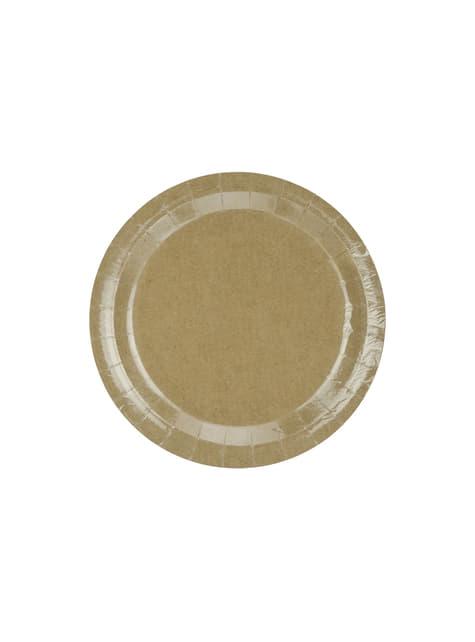 6 platos de papel Kraft - Natural Wedding (23 cm)