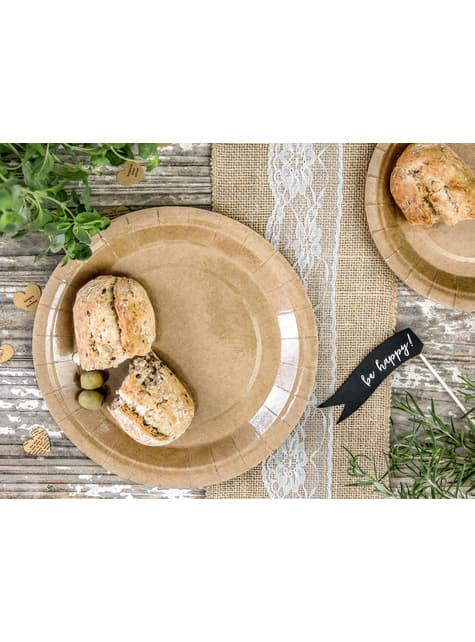 6 platos de papel Kraft - Natural Wedding (23 cm) - para tus fiestas