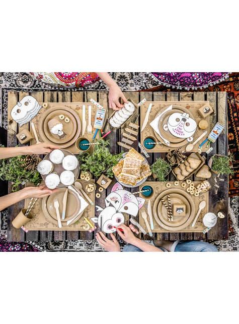 6 platos de papel Kraft - Natural Wedding (23 cm) - para niños y adultos