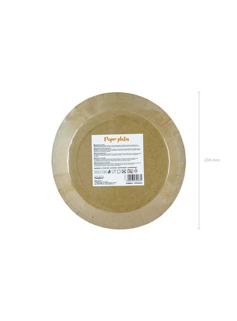 6 platos de papel Kraft - Natural Wedding (23 cm) - original