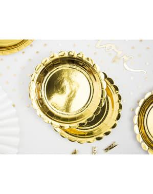 Kenarlı Kenarlı 6 Altın Tabaklı Set - Gold Wedding
