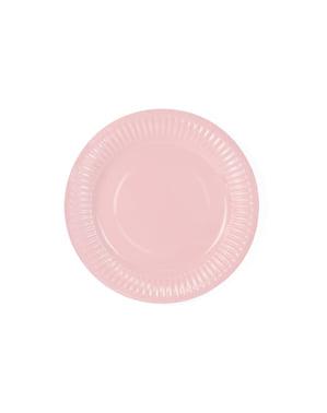 6 assiettes roses pastel en carton - Sweets Collection