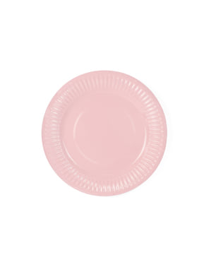 6 pastel roze papieren borde (18 cm) - Zoetig