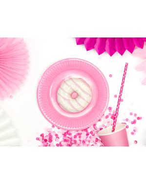 Zestaw 6 pastelowo różowe papierowe talerze - Sweets Collection