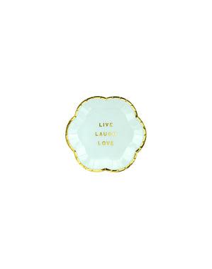 6 pratos azuis pastel com borda dourada