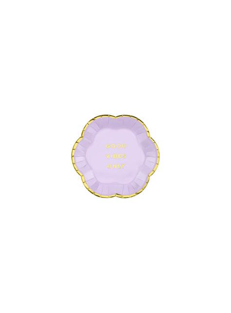 6 platos morados pastel con borde dorado