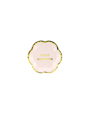 6 assiettes roses pastel bords dorés