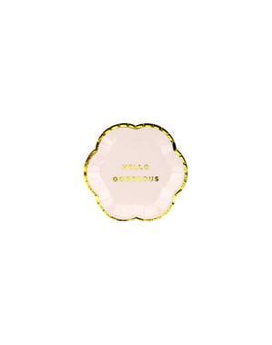 Zestaw 6 pastelowo różowe papierowe talerze