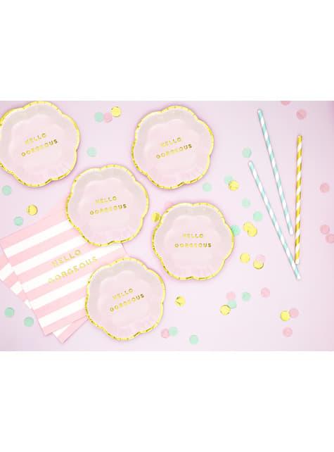6 platos rosas pastel con borde dorado
