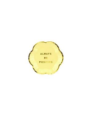 6 pratos pastéis amarelos com borda dourada