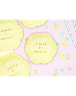 6 platos amarillo pastel con borde dorado
