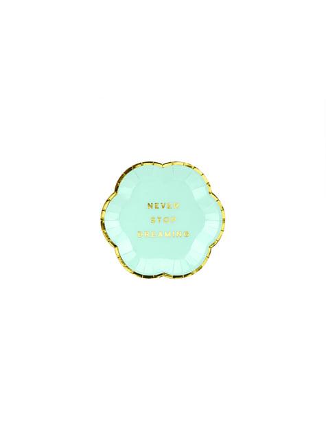 6 platos verde menta pastel con borde dorado