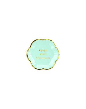 Zestaw 6 pastelowo miętowo-zielone papierowe talerze