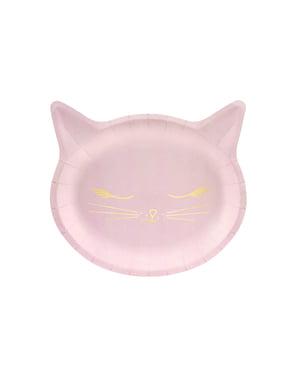 Sett med 6 Katteformet Papptallerkener, Rosa - Meow Party
