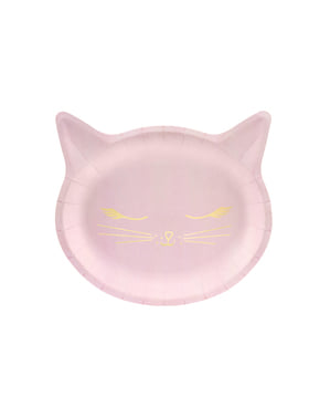 Zestaw 6 różowe papierowe talerze w kształcie kota - Meow Party