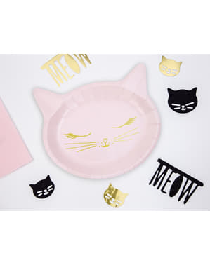 6 kissanmuotoista paperilautasta, pinkki - Meow Party
