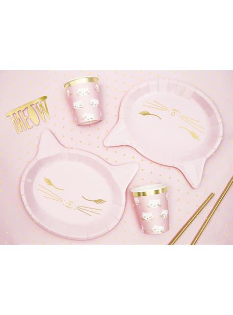 6 platos rosas con forma de gato de papel (22x20 cm) - Meow Party - barato