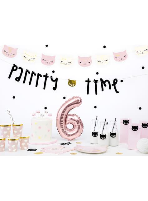 6 platos rosas con forma de gato de papel (22x20 cm) - Meow Party - para niños y adultos
