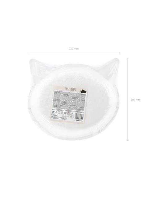 6 platos rosas con forma de gato de papel (22x20 cm) - Meow Party - original